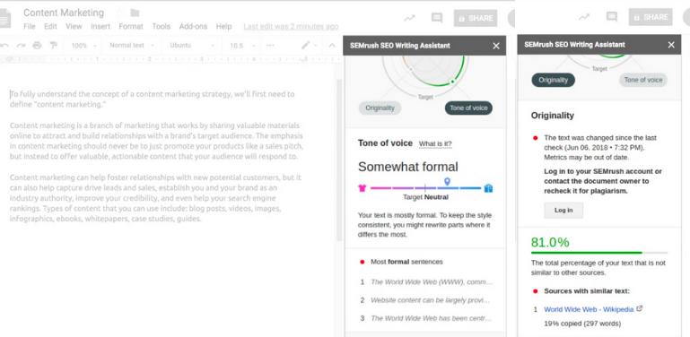 SEMrush readability score
